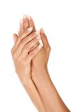 Beautiful woman smooth cupped hands Royalty Free Stock Photo