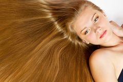 Beautiful Woman with smooth gloss long hair Stock Photos
