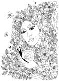 Beautiful woman with snail in the colors. Design for coloring book adults. Royalty Free Stock Image