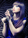 Beautiful woman with a snake Stock Images