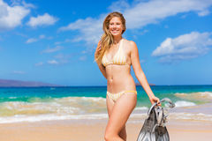 Beautiful Woman with Snorkel Gear Royalty Free Stock Photo