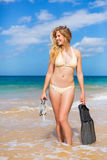 Beautiful Woman with Snorkel Gear Royalty Free Stock Photos