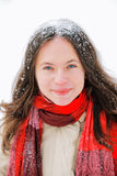 Beautiful woman in Snow Stock Photography