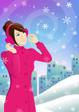 Beautiful woman and snow. Beautiful woman wearing ear muffs in winter royalty free illustration