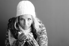 Beautiful woman with snow Royalty Free Stock Photos