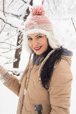 Beautiful woman in snow posing Stock Images