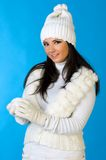 Beautiful woman with snowball. Stock Photo