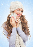 Beautiful woman with snowflake Stock Images