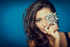Beautiful woman with snowflake Royalty Free Stock Photos