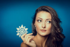 Beautiful woman with snowflake Stock Photos