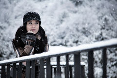 Beautiful Woman in a Snowy Day Stock Photography