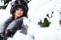Beautiful woman in snowy winter outdoors Royalty Free Stock Photography