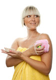 Beautiful woman with soap and sponge Royalty Free Stock Photos