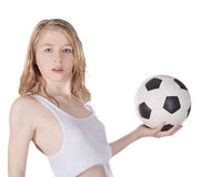Beautiful woman with soccer balls Royalty Free Stock Image