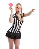 Beautiful woman in soccer referee clothes Royalty Free Stock Image