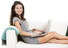 Working with a laptop at home Royalty Free Stock Image