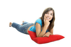 Beautiful woman with a soft cushion Stock Images