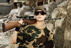 Beautiful woman soldier Royalty Free Stock Photography
