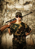 Beautiful woman soldier Royalty Free Stock Images