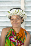 Woman in Tropes with Flowers in Hair Royalty Free Stock Photography