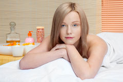 Beautiful woman in spa Stock Image
