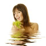 Beautiful woman in spa. Beautiful young woman in spa royalty free stock photos