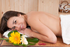 Beautiful woman in spa center having relax Stock Images