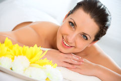 Beautiful woman in spa environment Royalty Free Stock Images