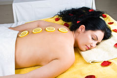 Beautiful woman at spa massage Stock Images