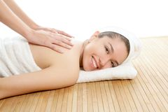 Beautiful woman on spa massage on back Royalty Free Stock Photos
