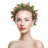 Beautiful Woman Spa Model met Gezonde Verse Huid Royalty-vrije Stock Afbeelding