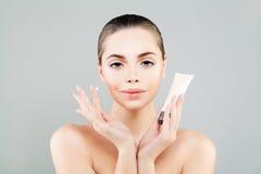 Beautiful Woman Spa Model met riem Ð ¡ Skincare stock foto