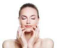 Beautiful Woman Spa Model with Nude Makeup Stock Photos