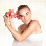 Beautiful woman at spa stock photography