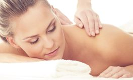 Beautiful Woman in Spa. Recreation, Energy, Health, Massage and Healing Concept. Royalty Free Stock Photography
