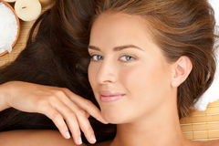 Beautiful woman at a spa salon Stock Photos