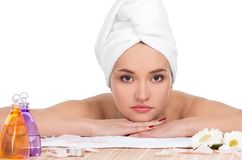 Beautiful woman in spa salon Stock Image