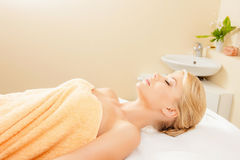 Beautiful woman in spa salon Royalty Free Stock Images