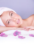 Beautiful woman in spa salon Royalty Free Stock Image