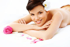 Beautiful Woman in Spa Salon Gets Relaxing Treatment. Royalty Free Stock Image