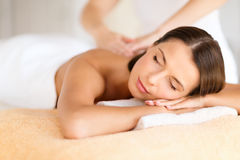 Beautiful woman in spa salon getting massage Royalty Free Stock Photos