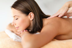 Beautiful woman in spa salon getting massage Royalty Free Stock Photo