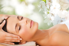 Beautiful woman in spa salon having facial massage Royalty Free Stock Photos