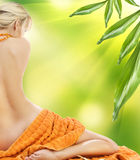 Beautiful woman in spa with towels Royalty Free Stock Photos
