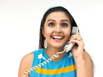 Beautiful woman speaking in the phone Royalty Free Stock Image