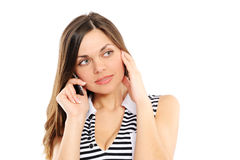 Beautiful  woman speaks by phone Royalty Free Stock Photos