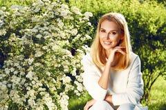 Beautiful woman sport gymnastics green park nature summer smile Stock Photo