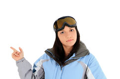 Beautiful woman in sport wear pointing a great idea Stock Photography