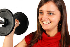 Beautiful woman with sport weight stock images