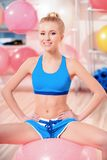 Beautiful woman in sports club Royalty Free Stock Photos